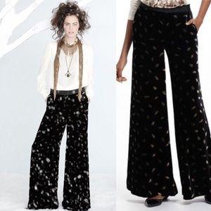 Anthropologie Elevenses Velvet wide leg silk pants
